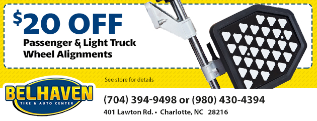 $20 OFF Passenger & Light Truck Wheel Alignments.