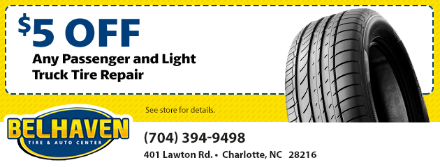 $5 OFF any Passenger and Light Truck Tire Repair